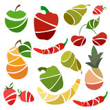 Set  fruits and vegetables pear, pepper Stock Images