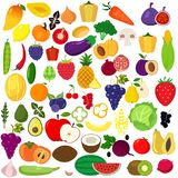 Set of fruits and vegetables. stock photography