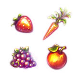 Set of fruits and vegetables. Strawberry, carrot Royalty Free Stock Photos