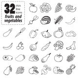 Set of fruits and vegetables. Thin line icons of fruits and vegetables Royalty Free Stock Photo