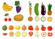 Set of fruits and vegetables. Stock Photo