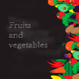 Set of fruits and vegetables. Vector illustration in vintage style on chalkboard background. Stock Photo