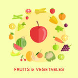 Set of Fruits Vegetables Vector Illustrations. Stock Photos