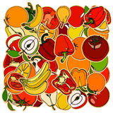 Set of fruits and vegetation. Doodle, cartoon drawing. Vector il Stock Image