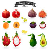 Set of fruits in watercolor style. Cut, slices Royalty Free Stock Image