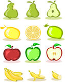 Set of  fruits on white background Royalty Free Stock Photos