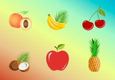 Set of fruits: whole and pieces - bananas, pineapple, coconut, peach, apple, cherries vector illustration