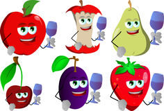 Set of fruits with wine glass Royalty Free Stock Images