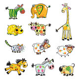 Set of fruity animals Stock Photo