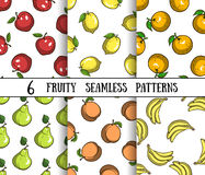 Set Fruity Patterns Royalty Free Stock Image