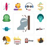 Set of frustration, outlaw, eshop, breaking news, mammoth, gun shop, semi truck, baboon, pharmacy icons. Set Of 13 simple  icons such as frustration, outlaw Royalty Free Stock Photo