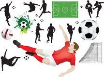 Set Fußballelemente vektor abbildung