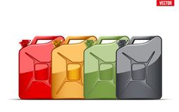 Set of Fuel container jerrycan. Gasoline canister. Royalty Free Stock Photo