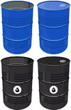 Set full barrel oil isolated Royalty Free Stock Photo