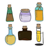 Set of full bottles. Set of vector hand drawn bottles with oils, medicine or other liquids. Different colors and shapes. Great for restaurant, pharmacy or beauty Stock Illustration