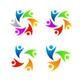 Set Of Full Color People Logo Template royalty free illustration