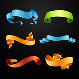 Set of full colors ribbons Stock Photos