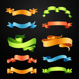 Set of full colors ribbons Stock Photography