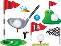 Set of full colour golf icons and designs. Golf ball, flags and golfing design elements some use gradient mesh royalty free illustration