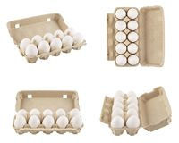 Set of full egg cartons shot from different angles. Isolated. Set of full egg cartons shot from different angles. Recyclable boxes or containers. Isolated on stock photography