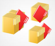 Set of full folders with selected red item Stock Images