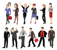 Set of full length portraits of business people Royalty Free Stock Image