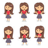 Set of full length portraits of cute girl vector illustration