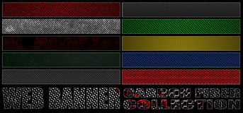 Set 8. full web banner carbon fiber collection. Stock Images