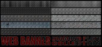 Set 8. full web banner diamond metal plate collection. Stock Photo