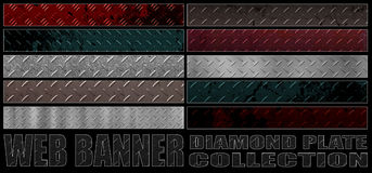 Set 8. full web banner diamond metal plate collection. Royalty Free Stock Photos
