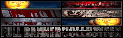 Set 8. full web banner Halloween collection. Royalty Free Stock Photography