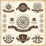 Vintage nautical labels set. A set of fully editable vintage nautical labels and badges in woodcut style. EPS10 vector illustration Royalty Free Stock Photos