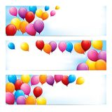 Banners with Colourful Balloons Royalty Free Stock Photos