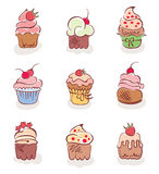 A set of fun cakes Royalty Free Stock Image