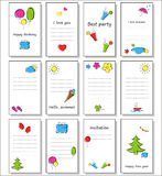 A set of fun cards for different themes, holidays. Stock Photo