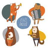 Set of fun cats playing musical instruments - drum, accordion, tube, guitar Royalty Free Stock Image
