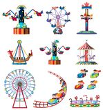 A set of fun fair rides. Illustration royalty free illustration