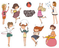 Set of fun and kind kids illustrations. Girls playing outdoors, smiling, jumping on playground. Set of fun and kind kids illustrations. Girls are playing Stock Photography