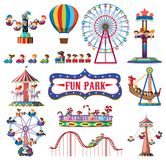 A set of fun park rides vector illustration