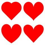 Set of red hearts icons. Set of fun red hearts icons Stock Image