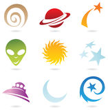 A set of fun space icons. Isolated on white stock illustration