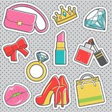 Fun trendy vintage sticker girly fashion badges. Set of fun trendy vintage sticker fashion badges with girly collection of accessories. Vector illustrations for Royalty Free Stock Image