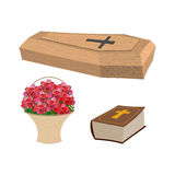 Set funeral. Coffin and Bible. Basket of flowers for burial of d Stock Photo