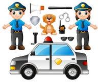 Set funkcjonariusz policji z milicyjnymi fachowymi equipments ilustracji