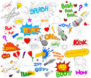 Set of funky comic explosion graphic elements. In vector Royalty Free Stock Photography
