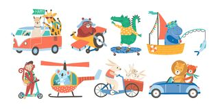 Set of funny adorable animals in various types of transport - driving car, fishing in sailboat, riding bicycle stock illustration