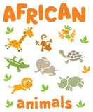 Set of funny african animals Royalty Free Stock Image