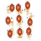 Set of funny African lion in different actions. Cartoon wild animal character. Zoo theme. Flat vector design for Royalty Free Stock Images
