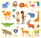 Set funny african little animals Stock Photo