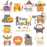 Set of funny animal characters dressed in Halloween costumes. Cartoon vector illustration isolated on white background vector illustration